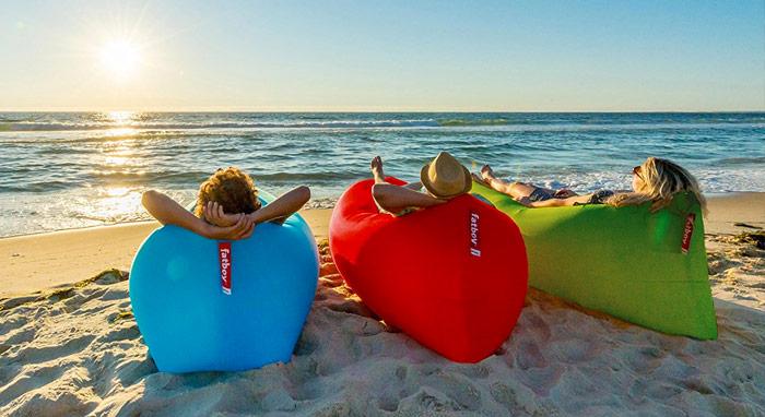hamac gonflable fatboy sur la plage
